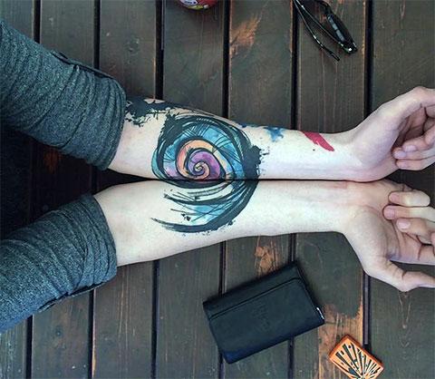 Парная тату спираль