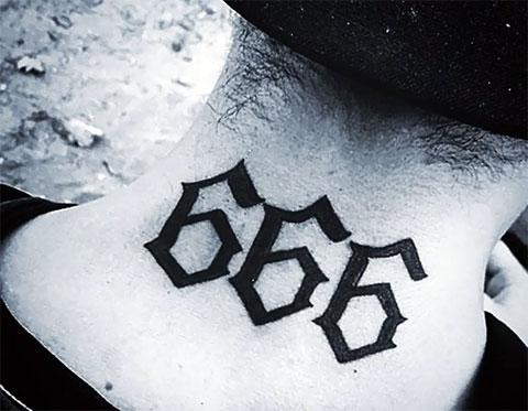 Эскиз тату 666 на шее