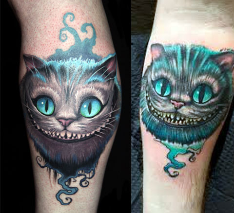 Татуировки с чеширским котом на руках