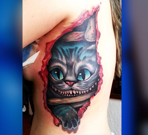Тату чеширский кот для девушек