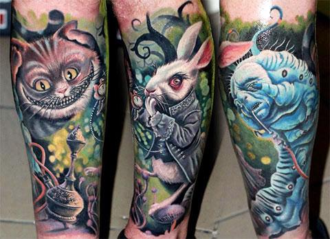 Татуировки с персонажами из Алисы в стране чудес