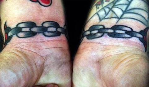 Татуировка цепи на запястьях