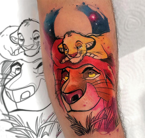 Тату король лев и Симба