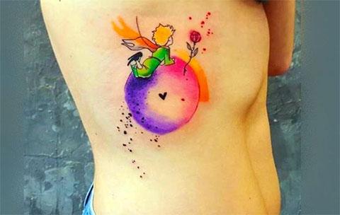 Цветная татуировка с маленьким принцем