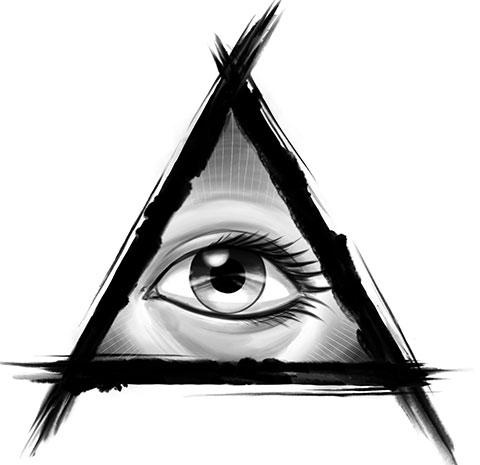 Эскиз для тату глаз в треугольнике