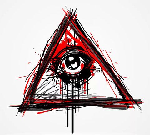 Глаз в треугольнике - эскиз для тату