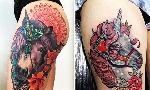 Татуировки с цветным единорогом