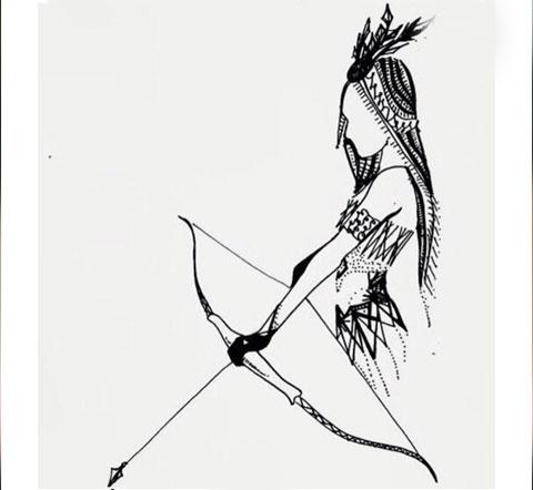 Эскиз татуировки стрелец для девушки
