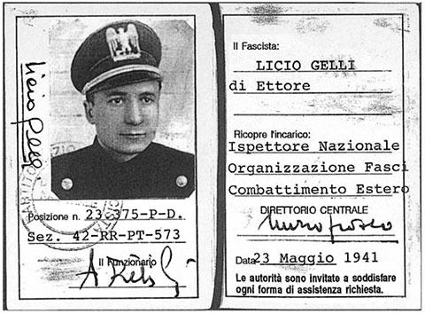 Удостоверение члена Итальянской фашистской партии Личо Джелли