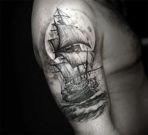 Тату корабль с парусами