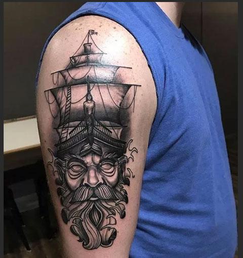 Тату капитан и корабль