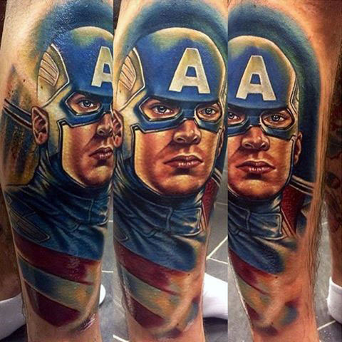 Тату капитан Америка на руке