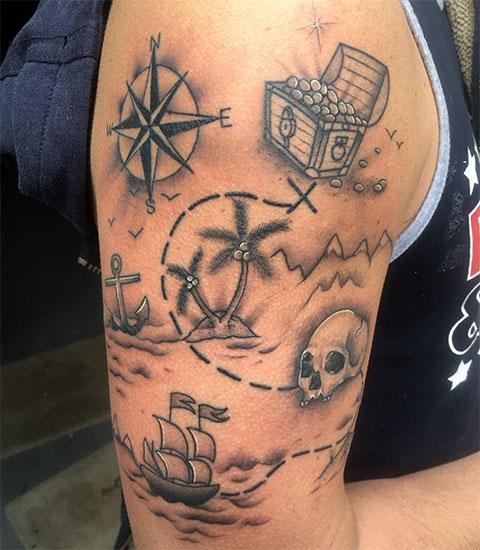 Тату пиратская карта - фото