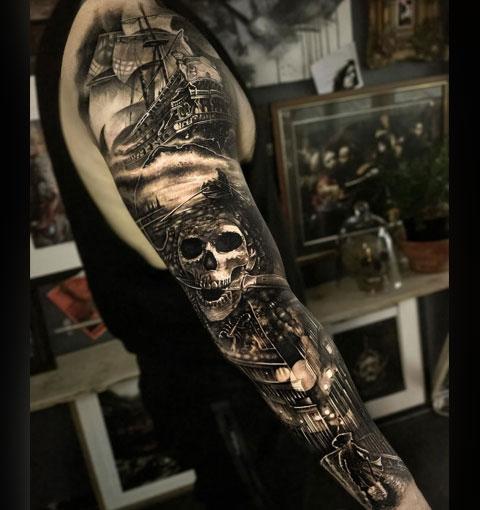 Пиратская тату-рукав