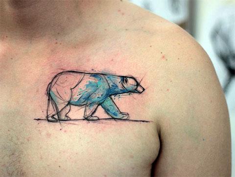 Тату белый медведь для мужчин
