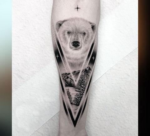 Тату белый медведь на предплечье