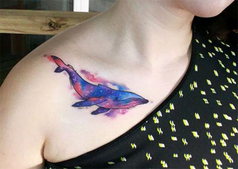 Тату кит акварель