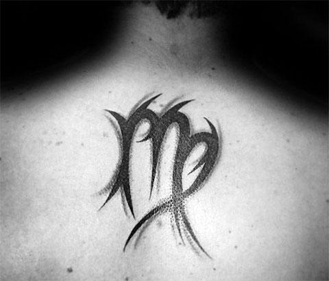 Тату знак зодиака дева на спине у мужчины