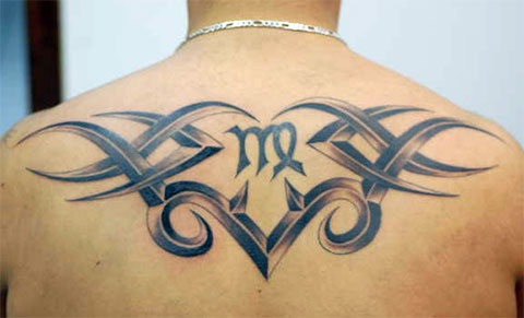 Мужская татуировка со знаком зодиака дева