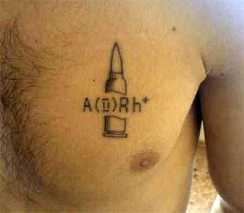 Армейская татуировка с патроном и группой крови