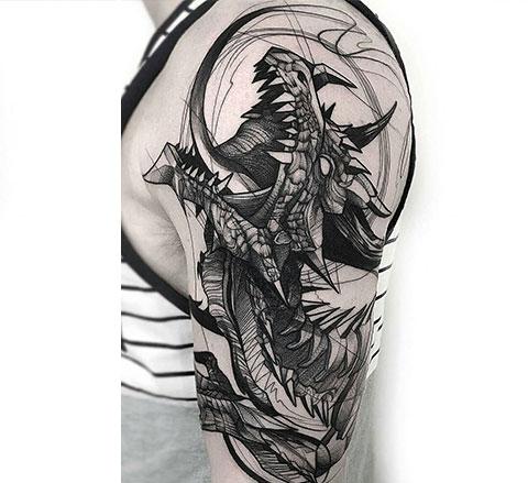 Мужская тату дракон