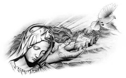 Эскиз тату Божья Матерь
