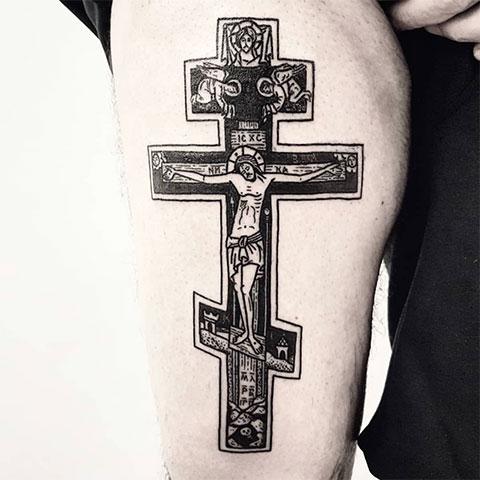 Тату православный крест с Иисусом Христом