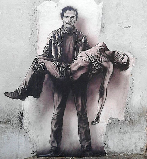 Изображение Пьера Пазолини на стене в Италии