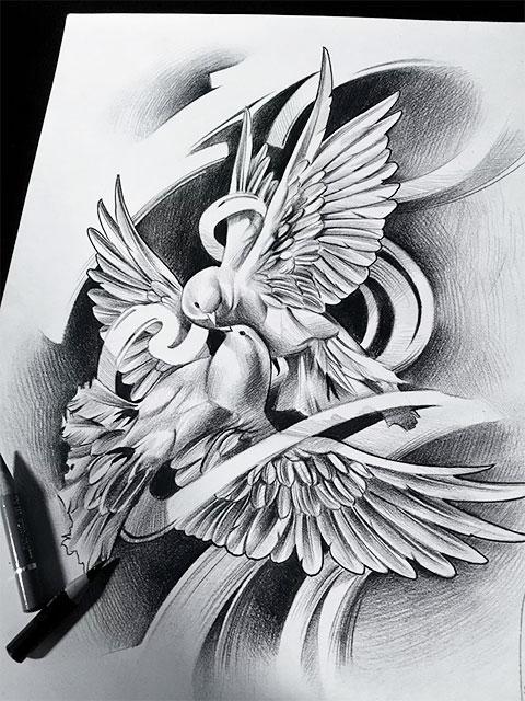 Эскиз голубей для татуировки