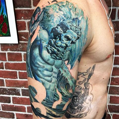 Цветная татуировка с Посейдоном