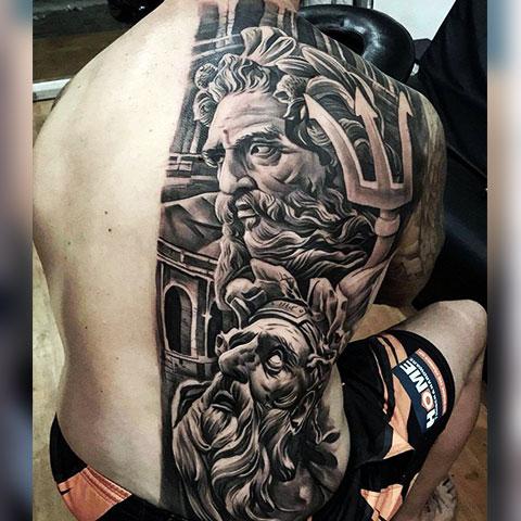 Татуировка Посейдон на спине