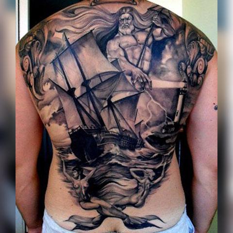 Тату Посейдон и корабль