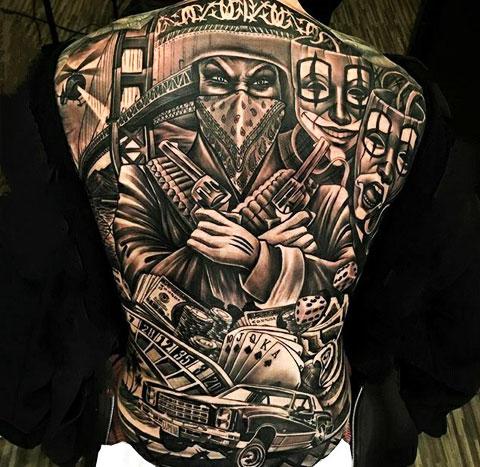 Татуировка Чикано на спине - фото