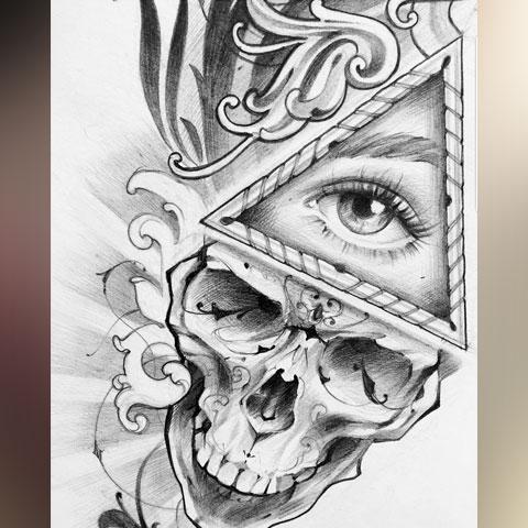 Эскиз татуировки в стиле Чикано