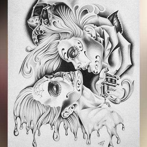 Эскиз тату в стиле Чикано