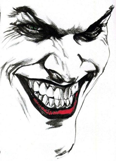 Лицо Джокера - эскиз для тату