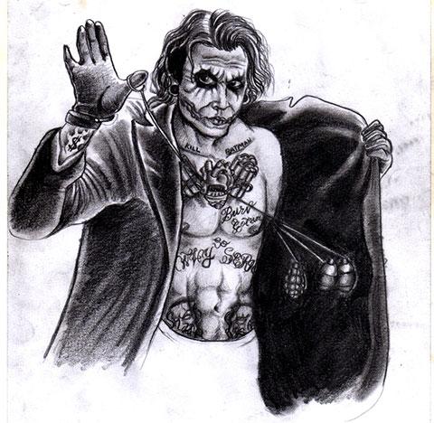 Тату Джокер - эскиз