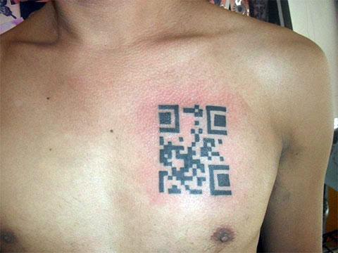 Татуировка QR код - фото