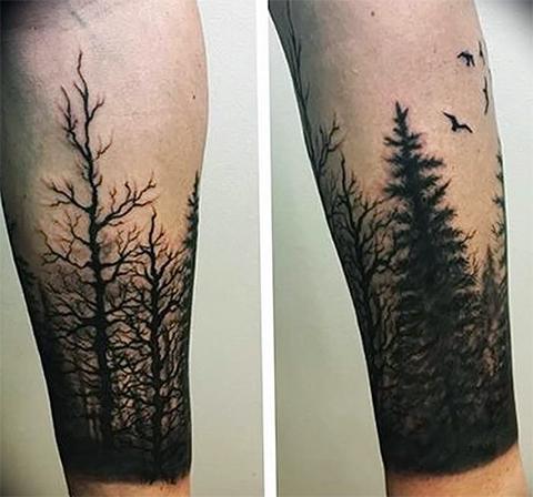 Татуировки с деревьями на руках