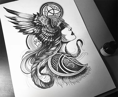 Эскиз Валькирии для татуировки