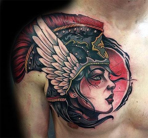 Татуировка Валькирия на груди