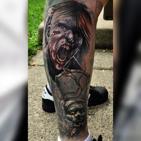 Тату с зомби на ноге