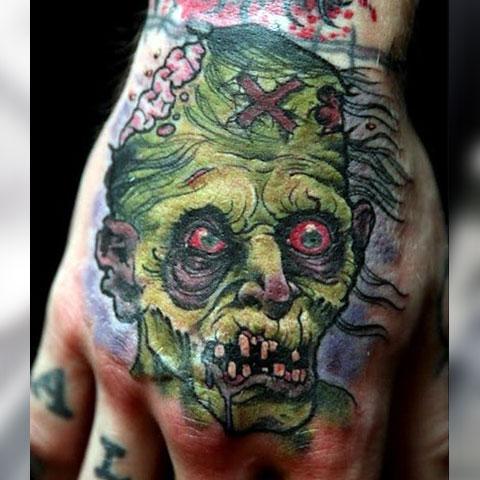 Тату зомби на кисти руки