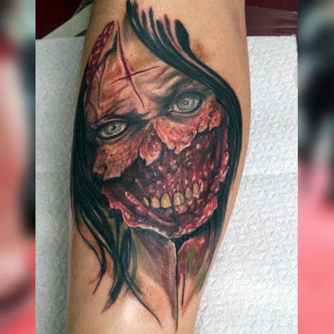 Татуировка зомби девушка