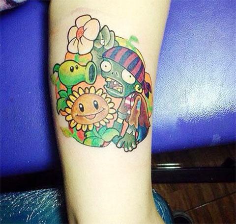 Фото татуировки зомби против растений