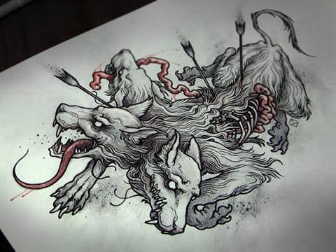 Раненый цербер - сюжетный эскиз для татуировки