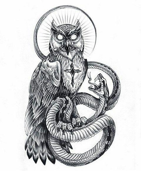 Мужской эскиз для тату с совой