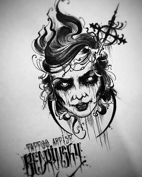 Ведьма - эскиз для татуировки