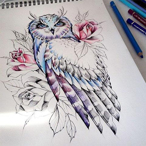 Эскиз для женской татуировки с совой