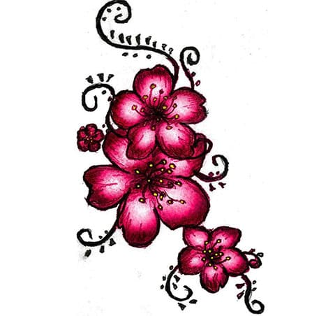 Эскиз цветков сакуры для тату